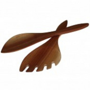 Raquet shaped mahogany salad serving spoons (2) hand carved