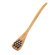 Welim Honey Stir Spoon Wooden Spoon Creative Honey Spoon Perforated Coffee Tea Ladle Mixing Spoon Stirring spoon 18.5cm Length Beige