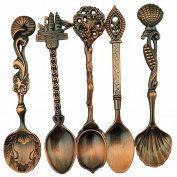 Dreammy Vintage Royal Style Bronze Carved Small Coffee Spoon Flatware Cutlery Mini Dessert Spoon For Snacks Kitchen Dining Bar