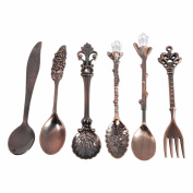 Dreammy Flatware Cutlery Tableware Vintage Royal Style Bronze Carved Small Coffee Tea Spoon Mini Dessert Spoon For Snacks New