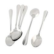 DealMux Stainless Steel Household Tableware Cooking Porridge Rice Soup Spoon 19cm Long 6pcs
