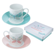 Pair of white expresso coffee cups and saucers, ceramic, butterfly design, gift boxed