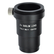 """Gosky 1. 25 """"(31. 7mm) 2X Full metal housing Barlow lens With T / T2 (M42x0. 75 mm) Male thread for standard telescope eyepiece Astronomi- Accept 1. 25inch Filters"""