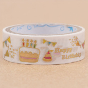 White colourful birthday party paper tape gold metallic embellishment from Japan