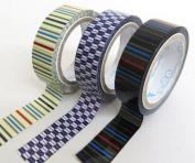 Cute colourful stripe shape deco tape set
