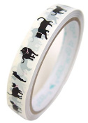 Cute Deco Tape white with cute black cat wearing ribbon