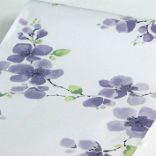 LoveFaye Plum Flower Contact Paper Peel & Stick Shelf Liner Refurbish Old Drawer Organisers Closet 45cm By 3m