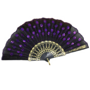 Cdet Handhold Fan Folding Shiny Embroidered Fans Photo Props Love Gift Home Wall Decoration Purple