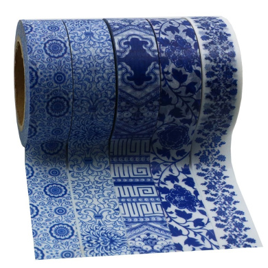 Hybsk China Blue and White Patterns Washi Tape Masking Tape Total 5 Rolls
