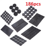 DAYNECETY Furniture Pad Rubber Non Slip Floor Protectors Chair Table Leg Feet Tile Adhesive Sticky Dots 186Pcs