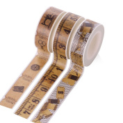 Cosanter 3 Rolls Washi Sticky Tape Retro Pattern Masking Adhesive Tape Scrapbooking DIY for Office