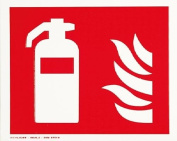 smartboxpro 245148710 FIRE SAFETY SIGN – FIRE EXTINGUISHER, 20 x 20 cm Red/White