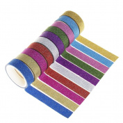 SUMAJU Washi Tape, DIY Craft Adhesive Wall Decoration Sticker Masking Tape Decorative Glitter Tapes 10 Rolls/Set Colour Random