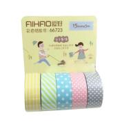 5pcs Washi Paper Tape Adhesive Sticky Decorative Scrapbooking Sticker 5M