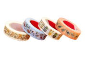 Dosige 4PCS Flower Series Paper Tape Stickers For DIY Greeting Card Decoration Hand Account Tape