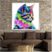 Chinget Diamond Cross Stitch DIY 5D Drill Wall Painting Cat Cross Stitch Needlework Crafts Decor