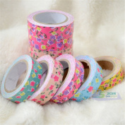 1.5cmx4m Flower Washi Tape Decorative Sticky Paper Fabric Tape Adhesive Craft DIY Decor