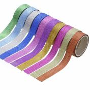 10pcs Glitter Washi Paper Adhesive Tape Craft Sticker Masking Decor 1.5cm x 3m Random Colour