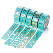 Wishwin 5 Rolls 15mm*10m Diy Adhesive Washi Gold Stamping style for Scrapbooking Tapes