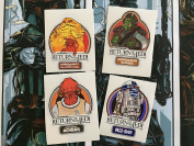 Star Wars Vintage Custom repro die cut stickers/decals/labels ROTJ character stickers Return Of The Jedi R2D2 Gammorrean Guard Jabba the Hutt and Admiral Ackbar