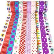 PsmGoods® Decorative Washi Tape 10 Rolls Colourful DIY Sticky Masking Adhesive Tape for Chrismas Xmas