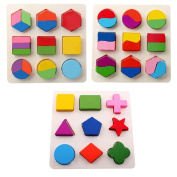 Pueri Kids Early Educational Puzzle Wooden Geometric Puzzles Preschool Pegged Toys