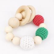 baby tete Baby Nursing Accessories Sensory Teether Toy Crochet Beads Beech Wooden Organic Teether DIY Jewellery Bracelet Baby Christmas Gift