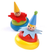 Wooden Clown Gyro, D & & R Educational Toys Craft Gyro Spinning Tops Chinatera Painted Clown Wooden Coloured Spinning Tops for Children Kids Set of 2