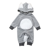 squarex Sunny Baby Boy Girl Striped 3D Animal Hooded Romper Jumpsuit Clothes