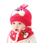 dragonaur Unisex Kids Baby Cartoon Rabbit Winter Knitted Wool Fleece Beanie Scarf Set
