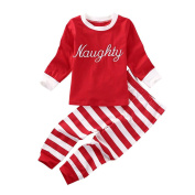 squarex Sunny Baby Girls Boys Letter Tops+Stripe Pants 2Pcs Set Christmas Clothes