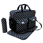 3pcs Black Colour White Polka Dots Baby Nappy Nappy Changing Bag Set E Polka Dot