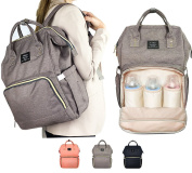 Multi-function Baby Nappy Bag Grey Colour, Waterproof Travel Backpack Nappy Bags for Baby Care, Large Capacity