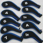 SUNDELY® 10Pcs Neoprene JL Golf Club Headcovers Head Cover Iron Protect Set Black/Blue
