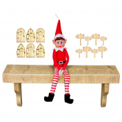 Plush Red Naughty Christmas Elf Soft Doll Toy with Wooden Elf Doors & Signs
