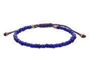 LINK UP Men's Blue Glass Beads Pull Thread Bracelet
