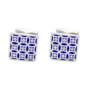 P.D.Man Repeating Blue Pattern Cufflinks with Crystals