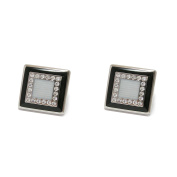 P.D.Man Large Square Enamel with Crystals Cufflinks