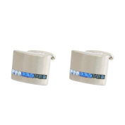 P.D.Man Curved Cufflink with Blue Crystals