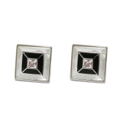 P.D.Man Large Square MOP with Enamel and Crystal Cufflinks