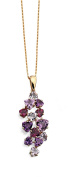 Elements Gold 9ct Yellow Gold Rose De France Amethyst, Amethyst and Brazilian Garnet Pendant on a Chain of Length 46cm