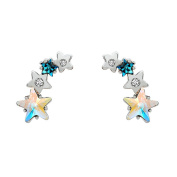 2 in 1 Blue Lucky Stars with Swaroviski Crystal Ear Cuffs Silver Wrap Climber Crawler Stud Earrings Hypoallergenic for Women Girls