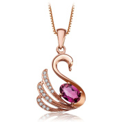 18K Rose Gold Plated 925 Sterling Silver Swan Princess Animal Ruby Diamond Crystal Cubic Zirconia Pendant Necklace for Women Girls Gifts