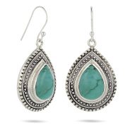 aden' S Silver Jewels – Beads turquoise double drop Claw Set Earrings