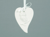 Eight 9cm White Porcelain Heart Shaped Tree Trim With Owl Decoration - Perfect For Your Christmas Tree