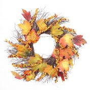 Bescita Pumpkin Berry Maple Leaf Fall Door Wreath Door Wall Ornament Thanksgiving Day