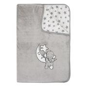 Jacky Elephant Printed Blanket, Grey, 70 x 100 cm