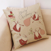 Masrin Decorative Pillowcases Christmas Cotton Linen Car Sofa Cushion Cover Home Party Decor