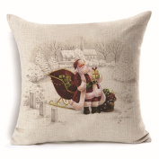 Hoomall Merry Christmas Cartoon Sofa Cushion Case Throw Pillow Cover 46cm x 46cm without Core Pattern 3