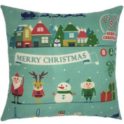 Hoomall Merry Christmas Cartoon Sofa Cushion Case Throw Pillow Cover 46cm x 46cm without Core Green Elk City Snowman Santa Claus